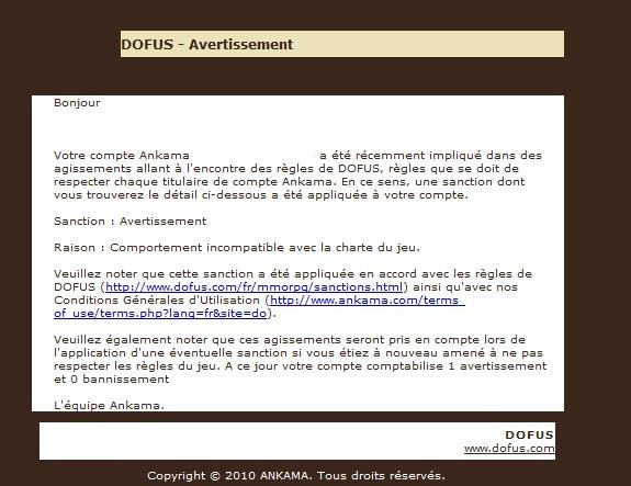 Avertissements De Non Respect Des Regles Forum Dofus Le Mmorpg