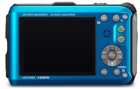 le Panasonic Lumix DMC-FT3 bleu de dos