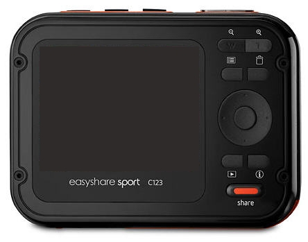 le Kodak EasyShare Sport C123 gris de dos