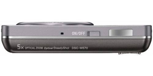 le Sony Cyber-shot DSC-W570 gris de haut