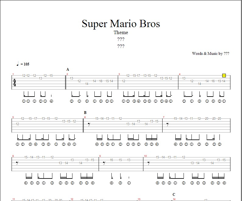 partition guitare mario