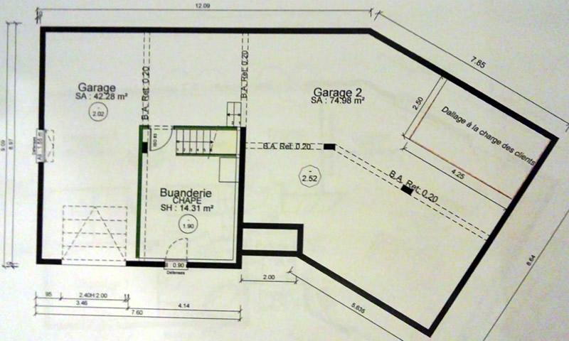 Nos plans maison demi sous sol demi niveau 115m2 51 - Plan de maison avec sous sol ...