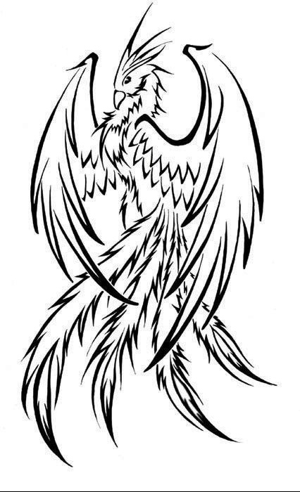 Free Coloring Pages Of Phoenix In Line Drawing