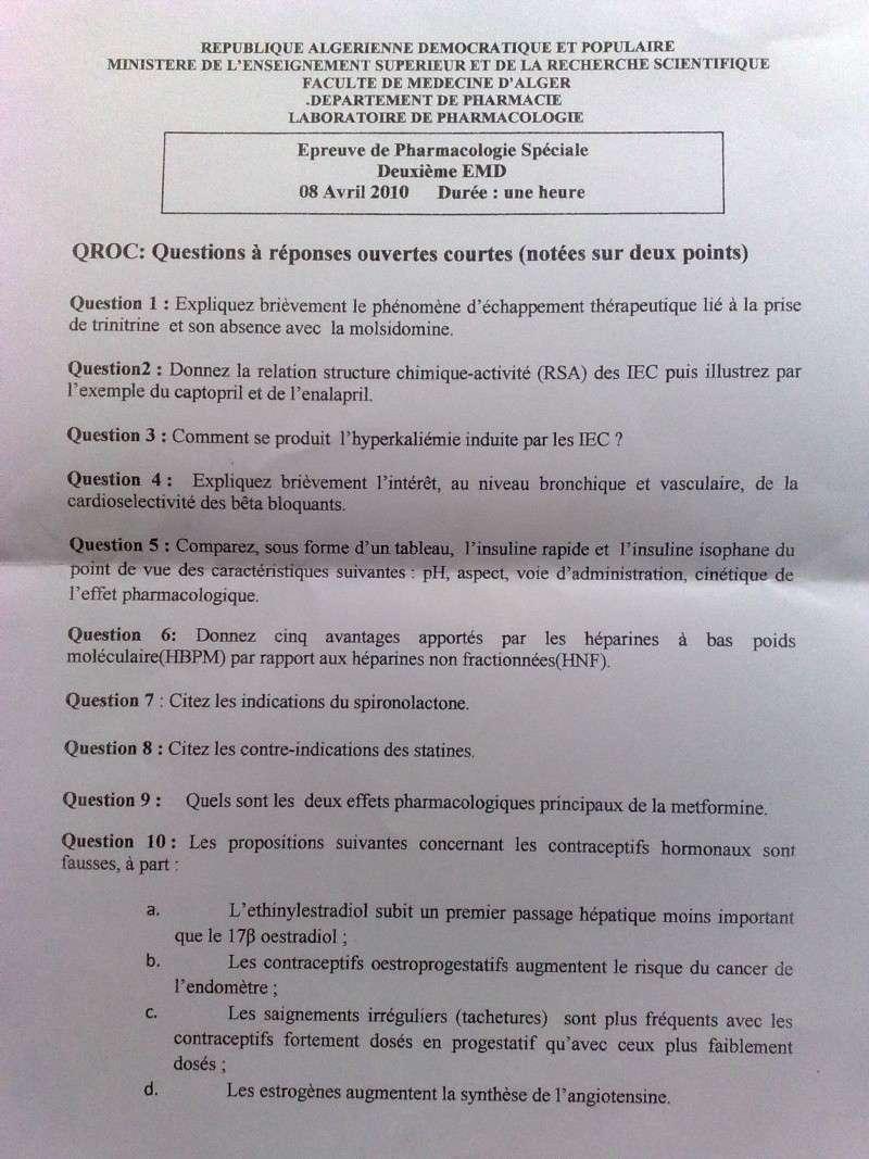 Sujets d 39 examen et exercices pharmacologie sp ciale - Sujet examen cap cuisine ...