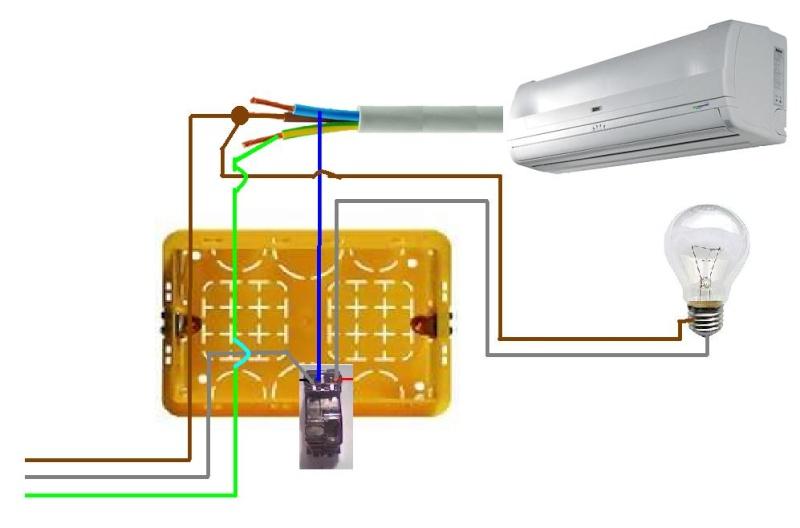 Interruttori a monte di due climatizzatori in standby for Collegamento interruttore luce
