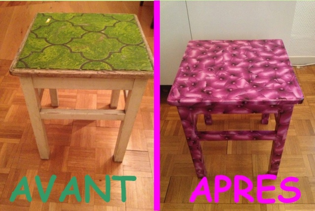 Transformation table tabouret for Decopatch meuble